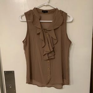Taupe button down ruffle front blouse
